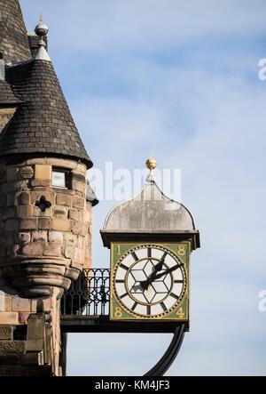 Canongate Tolbooth clock on The Royal Mile, Edinburgh, Scotland, United Kingdom - Stock Photo