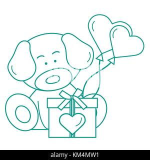Cute puppy with gift, hearts and balloons. Greeting card Valentine's Day. Design for banner, poster or print. - Stock Photo