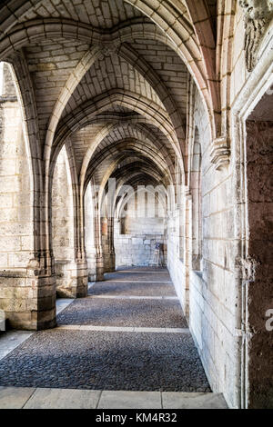 Cloisters in the Abbey of St Pierre, Brantome, Perigord, Dordogne, France, Europe. - Stock Photo