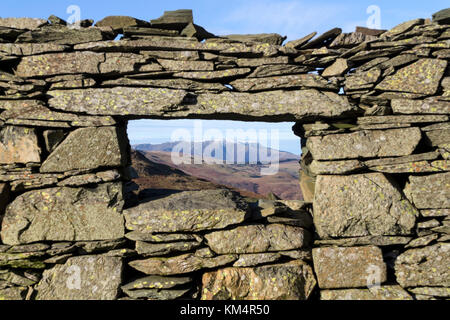 The Mountain of Blencathra Viewed Through the Window of a Ruined Quarry Building Window, Near Low Dodd, Lake District, - Stock Photo