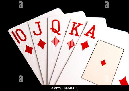 Poker Hand Diamond Royal Flush - Stock Photo
