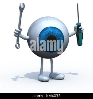 big blue eyeball with arms, legs and tools on hands, 3d illustration - Stock Photo