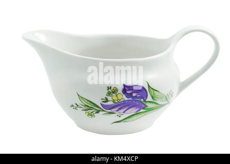 white porcelain sauceboat with floral pattern isolated - Stock Photo