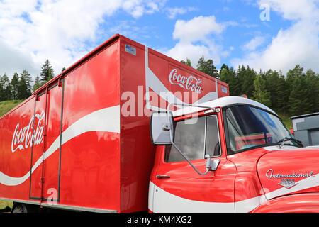 HAMEENLINNA, FINLAND – JULY 11, 2015:  International Loadstar 1890 vintage Coca-Cola truck at Tawastia Truck Weekend - Stock Photo