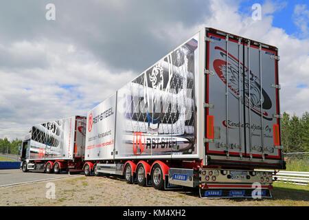 HAMEENLINNA, FINLAND - JULY 11, 2015: Scania R560 combination vehicle of Karelia Kuljetus Oy at Tawastia Truck Weekend - Stock Photo