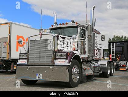 HAMEENLINNA, FINLAND - JULY 11, 2015: Classic Kenworth truck tractor on display at Tawastia Truck Weekend 2015. - Stock Photo