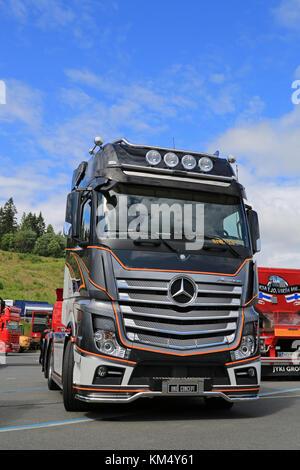 HAMEENLINNA, FINLAND - JULY 11, 2015: Mercedes-Benz Actros 2651 Uniq Concept truck on display at Tawastia Truck - Stock Photo