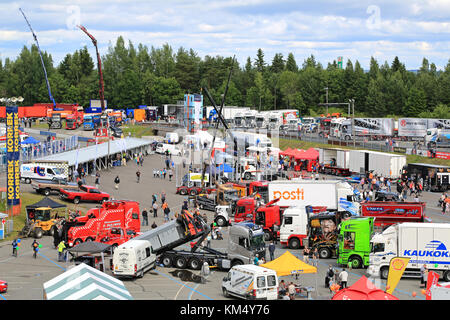 HAMEENLINNA, FINLAND - JULY 11, 2015: General view to Tawastia Truck Weekend 2015, one of the biggest truck meetings - Stock Photo