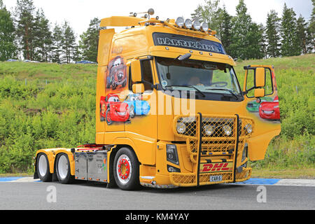HAMEENLINNA, FINLAND – JULY 11, 2015:  Volvo FH13 truck with the Cars Movie Theme of Trans-Hartikainen at Tawastia - Stock Photo