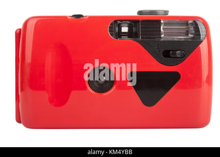 Red compact film camera isolated on white background