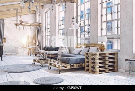 attic living room interior. Pallet furniture .3d illustration - Stock Photo