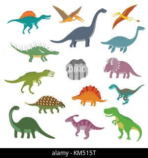 Vector illustration of happy Cartoon Dinosaur Character Set - Stock Photo