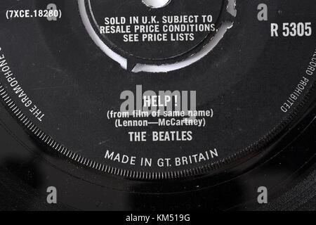 Beatles Help! seven inch single label details - Stock Photo
