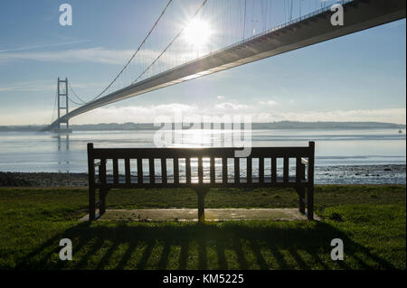 The Humber Bridge near Hull is a single span suspension bridge over the Humber estuary connecting East Yorkshire - Stock Photo