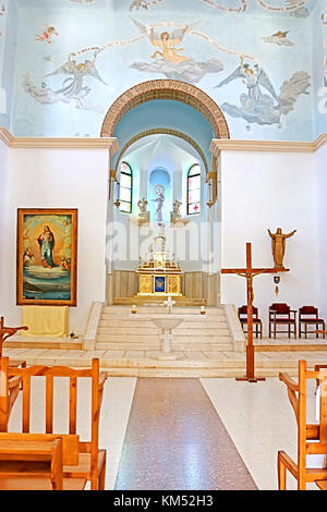DEIR RAFAT, ISRAEL - SEPTEMBER 23, 2017: Interior of the church in the monastery of Dir Rafatt , also known as the - Stock Photo