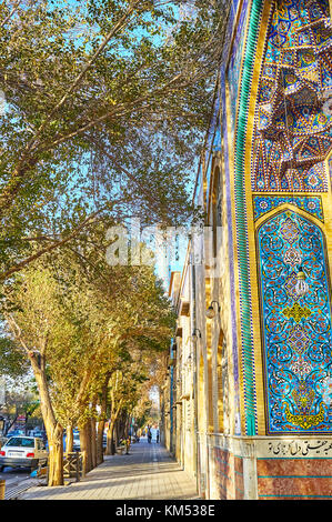 YAZD, IRAN - OCTOBER 17, 2017: Narrow shady street next to Hazayer Mosque, on October 17 in Yazd - Stock Photo