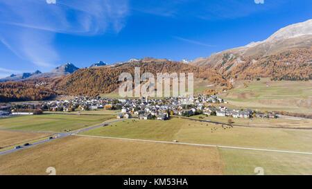 Alpine village in the Swiss Alps, city of Celerina, grisons canton - Stock Photo