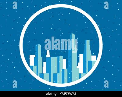 Winter city with skyscrapers. Snow-covered metropolis, the outlines of buildings. Vector illustration - Stock Photo