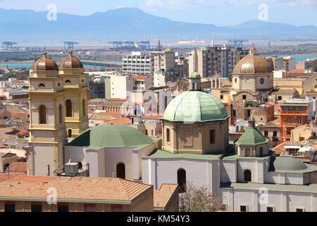 Churches un Cagliari old town, Sardinia, Italy - Stock Photo