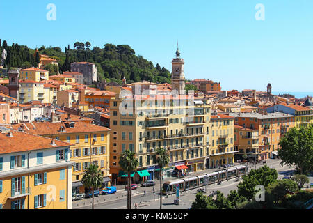 NICE, FRANCE - JUNE 23, 2016: Paillon promenade and Castle hill in the old town of Nice - Stock Photo