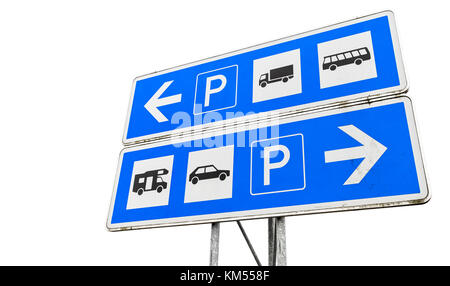 Separate parking sign for different types of transport isolated on white background - Stock Photo