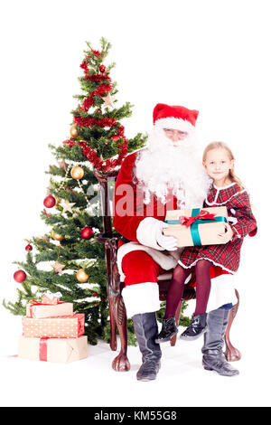 Getting gift from Santa Claus - Stock Photo