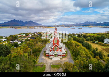 Buksnes Church in the village of Gravdal on Lofoten islands - Stock Photo