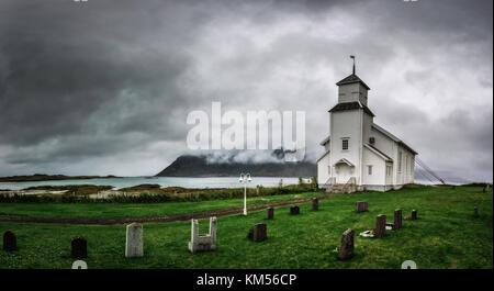 Gimsoy church on Lofoten Islands in Norway - Stock Photo