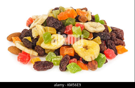 Pile of dried fruits isolated on white background - Stock Photo