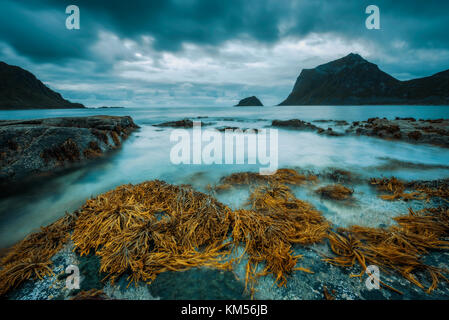 Haukland beach on Lofoten islands in Norway - Stock Photo