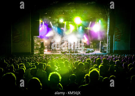 The British electronic music band Hot Chip performs a live concert at the German music festival Open Source Festival - Stock Photo