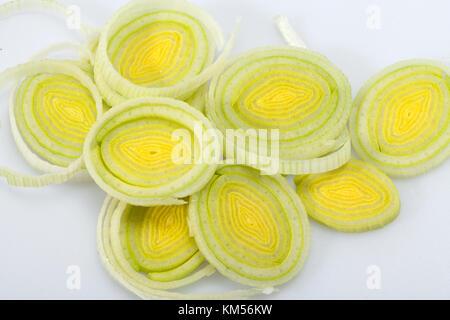 Sliced Leeks on white background - Stock Photo