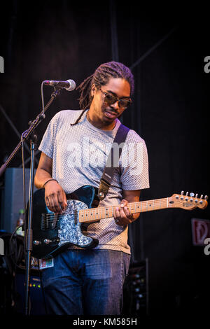 The American rapper and lyricist Oddisee performs a live concert with the live band Good Compny at the German music - Stock Photo