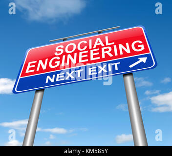 Illustration depicting a sign with a social engineering concept. - Stock Photo
