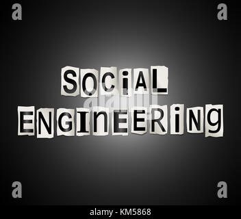 Illustration depicting a set of cut out printed letters arranged to form the words social engineering. - Stock Photo