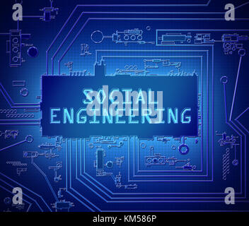3d Illustration depicting printed circuit board components with a social engineering concept. - Stock Photo