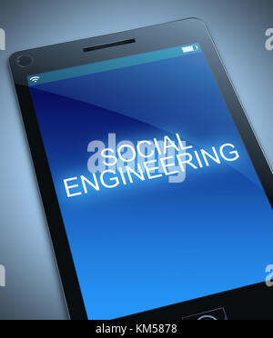 3d Illustration depicting a smart phone with a social engineering concept. - Stock Photo