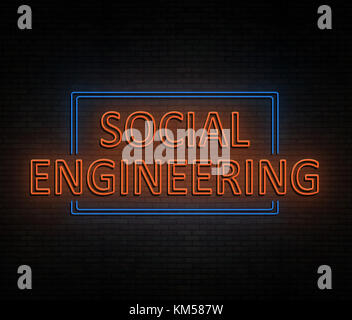 3d Illustration depicting an illuminated neon sign with a social engineering concept. - Stock Photo