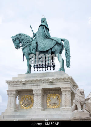 Statue of Stephen I of Hungary, Fisherman's bastion, Budapest - Stock Photo
