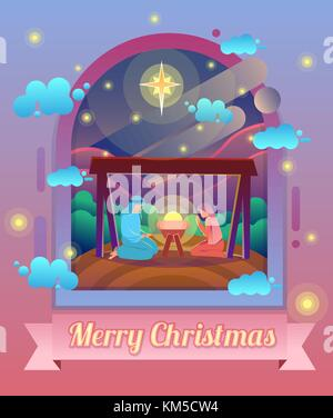 Mary and Joseph with baby Jesus, Christmas Nativity Scene under sky of stars. Modern vector cartoon illustration. - Stock Photo