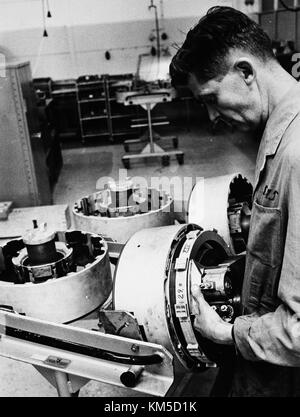 Maintenance and overhaul at Arlanda airport 1967 08 23 Hydralverkstad, the hydralic work shop for Caravelle (3) - Stock Photo