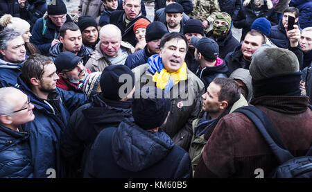 Kiev, Ukraine. 5th Dec, 2017. Ex-President of Georgia Mikhail Saakashvili with his supporters.The ex-governor of - Stock Photo