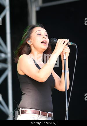 Sonya Madan vocalist with Echobelly performing at Victorious Festival UK 2017 - Stock Photo