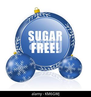 Sugar free blue christmas balls icon - Stock Photo