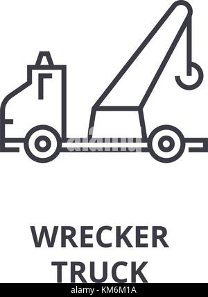 Car Tow Truck Icon Flat Style Stock Vector Art Illustration