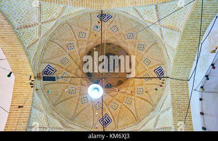YAZD, IRAN - OCTOBER 17, 2017: Interior of Goldsmith Bazaar with brick cupola decorated with tiles, on October 17 - Stock Photo