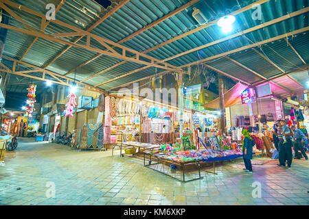 YAZD, IRAN - OCTOBER 17, 2017: Bazaar in Yazd is very popular among locals, they could buy here everything they - Stock Photo