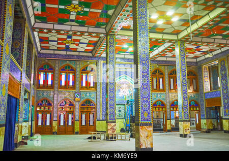 YAZD, IRAN - OCTOBER 17, 2017: Walls and columns of Hazayer Mosque are decorated with tiles with traditional persian - Stock Photo