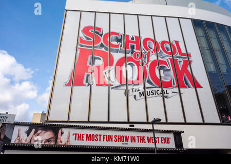 Exterior sign for School of Rock the Musical, by Julian Fellowes and Andrew Lloyd Webber. New London Theatre, Drury - Stock Photo