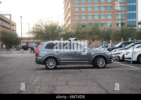 Uber Smart Self Driving Car in a parking lot on 12/08/2017 In Tempe Arizona USA - Stock Photo